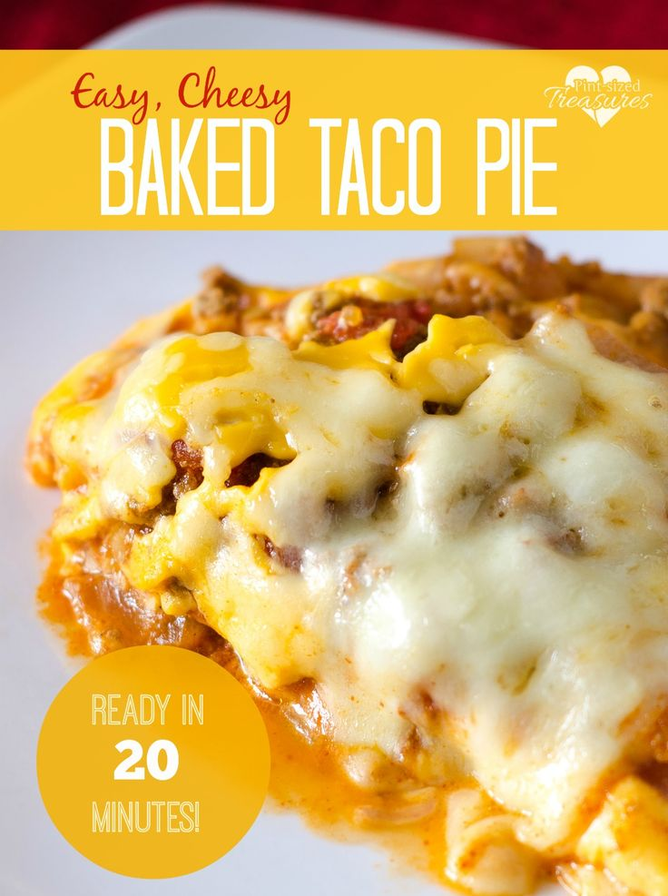 Love tacos? You'll love this easy, cheesy taco pie that is ready in 20 minutes! A one-dish meal, it's completely low-fuss for your busy days or nights when you need ot get a meal on the table in a hurry! #tacos #easyrecipes #quickmeals