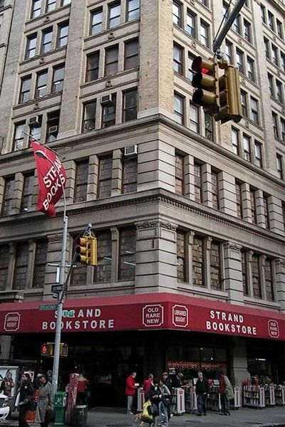 """Strand Book Store's """"18 miles of new, used and rare books"""" have graced New York City's streets since 1927. Named for a lucky literary London street, the Strand houses more than 2 million books on essentially every topic."""