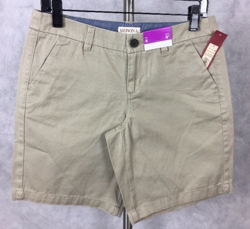 "NEW Merona Womens Khaki Shorts Size 4 9"" Inseam. 268"