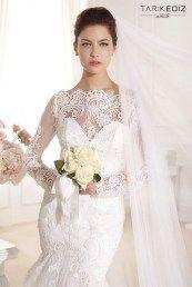 Tarik Ediz свадебные платья с кружевным верхом и длинными рукавами