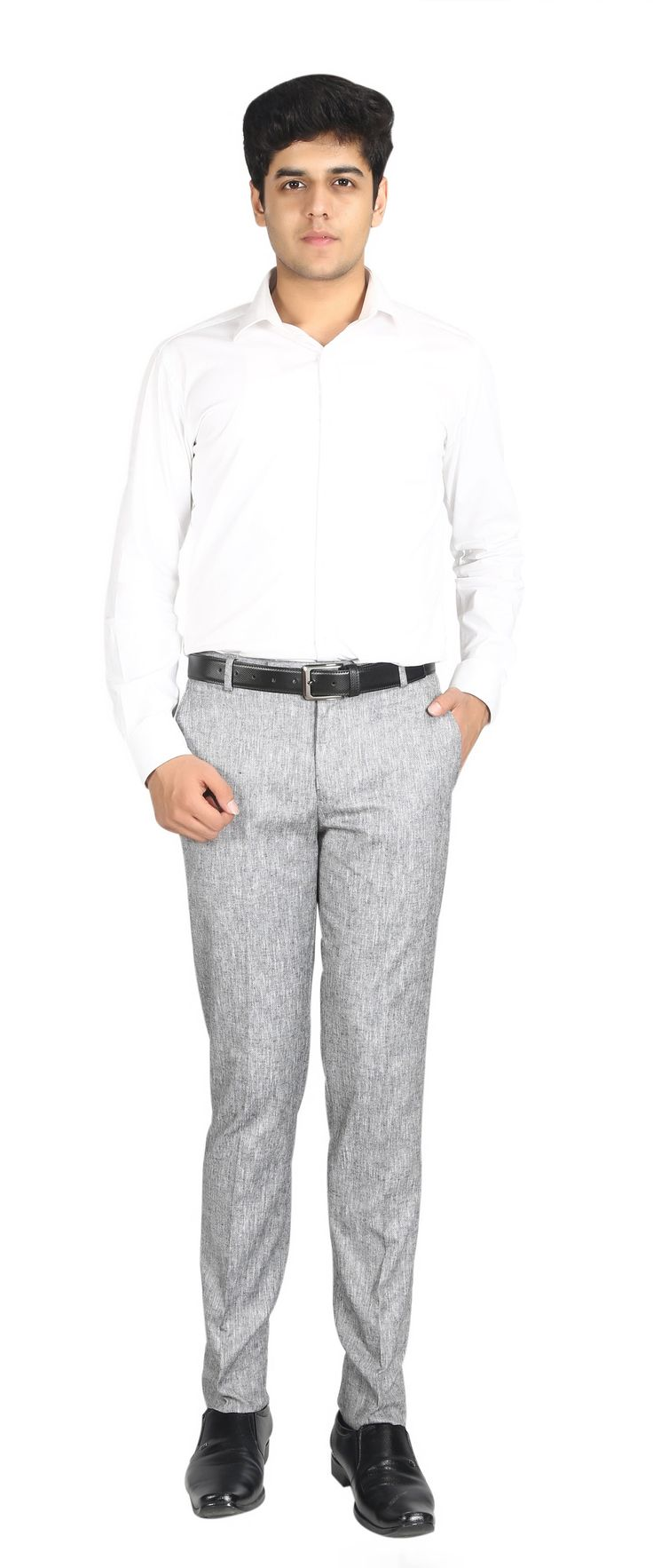 Brand Name= NUMERICS  Size= 30-38 Shade= Grey Fit        = Slim Fit Fabric= POLYSTER VISCOSE Price= 1410/- Discount= 40% Now Price= 846/-