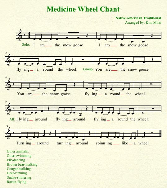 Medicine Wheel Chant Lyrics: Kid Music Series: 10 Songs for Celebrating the Fall Harvest