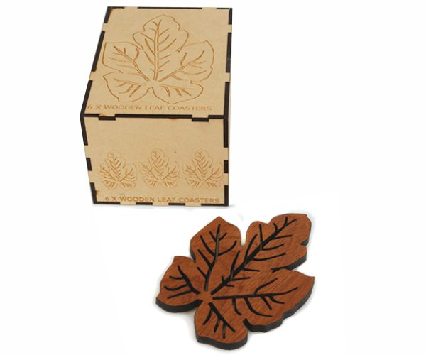 Fynbos Wooden Leaf Coaster. Available in a set of 6, packaged in a beautiful wooden box or as individual coasters. #wood #coasters #decor #leaf