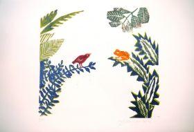 L'oiseau et la grenouille La pluie est amoureuse du ruisseau Gravure sur bois