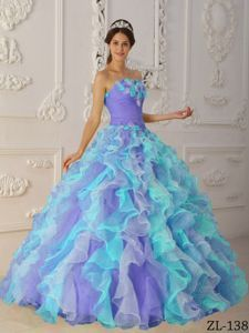 Colorful Ruched Strapless Dress for Sweet 16 with Ruffles