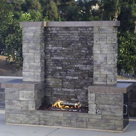 Bull outdoor acqua firewall outdoor gas fireplace for Fire pit water feature combo