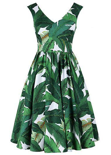 Green Tropical Print Sleeveless Knee Length Fit and Flare dress, Hawaiian style dress, palm tree print dress