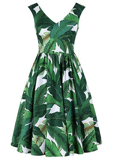 Green Tropical Print Sleeveless Knee Length Fit and Flare dress, Hawaiian style dress, palm tree print dress