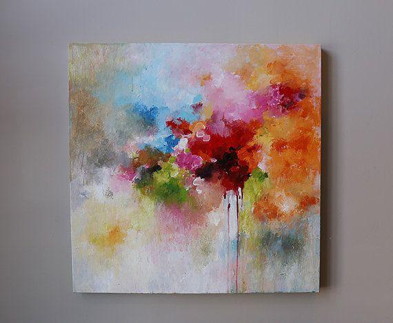redorange abstract painting modean Acrylic abstract por artbyoak1
