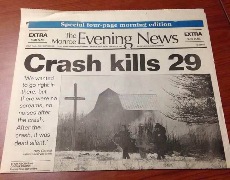 One of the most tragic days in Monroe County MI history was Jan. 9, 1997, when a Comair plane crashed that afternoon into a field near Monroe and killed everyone on board. Monroe County's first responders and emergency agencies were the ones called to assist on scene and the families who later came to the area. This photo is of the special morning edition produced by The Monroe Evening News with the early news coverage.