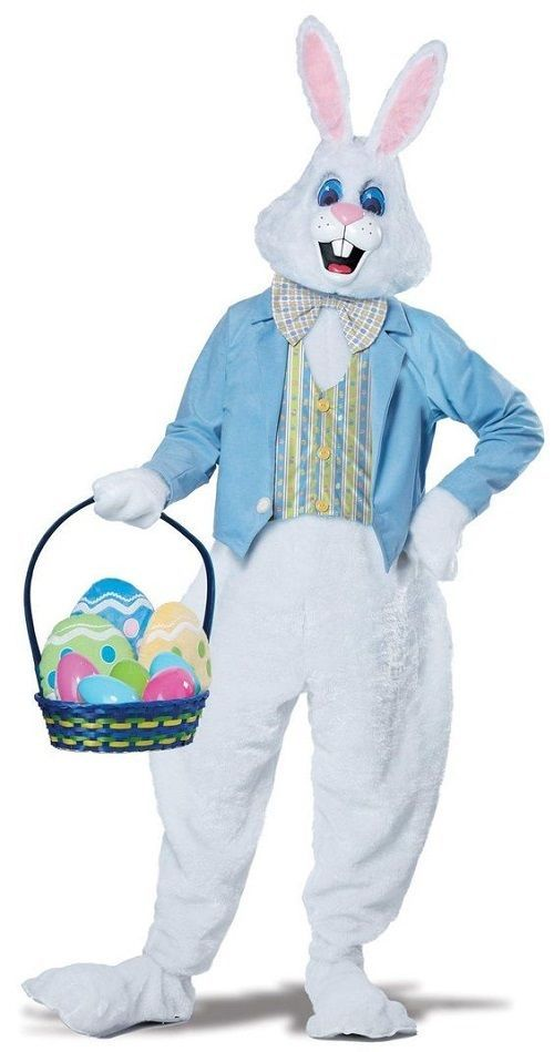 Easter Bunny Costume Suit Rabbit Outfit Mask Headpiece White Fur Adult Deluxe