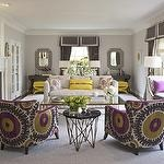 Suzani chairs: Decor, High Gloss, Living Rooms, Bold Prints, Pop Of Color, Interiors Design, Fabrics, Accent Chairs, Gloss Magazines