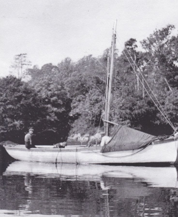A Towelsail Yawl aka Heir Island Lobster boat in Castletownshend. The towel is visible covering the bow which was erected when at rest. The ...