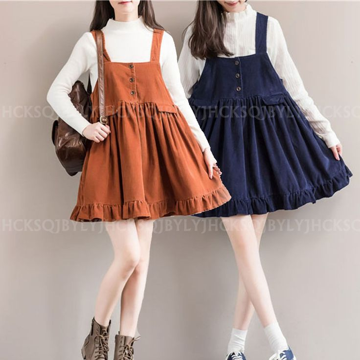 Vintage College Casual Loose Corduroy Strap Dungaree Overalls Dress Pleated Hem