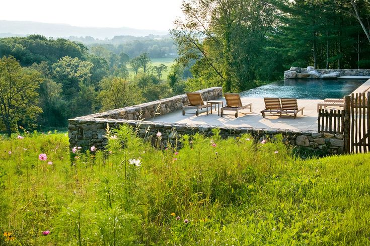 Farmhouse pool and wildflowers