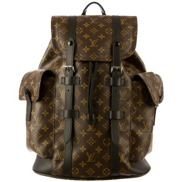 LOUIS VUITTON Monogram Macassar Christopher PM Unisex Backpack M43735 (9.440 RON) ❤ liked on Polyvore featuring bags, backpacks, knapsack bag, louis vuitton, rucksack bags, monogrammed backpacks and brown backpack