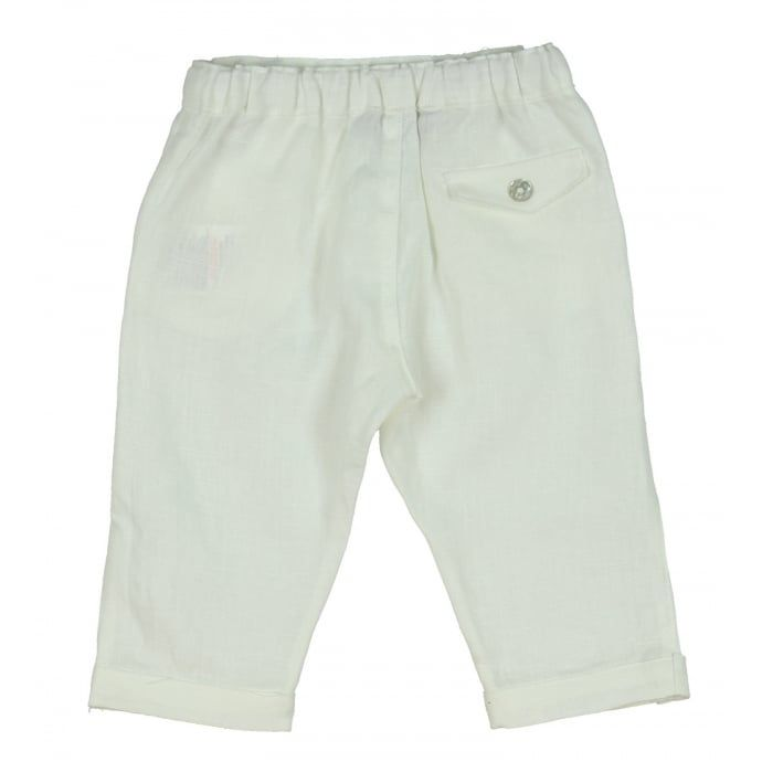Tartine Et Chocolat Baby Girl's White Cropped Trousers with Mother of Pearl Button. Now available at www.chocolateclothing.co.uk