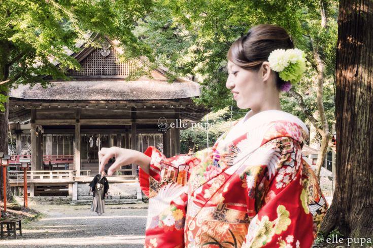 和装前撮り*新郎新婦と神社とたこ |*ウェディングフォト elle pupa blog*