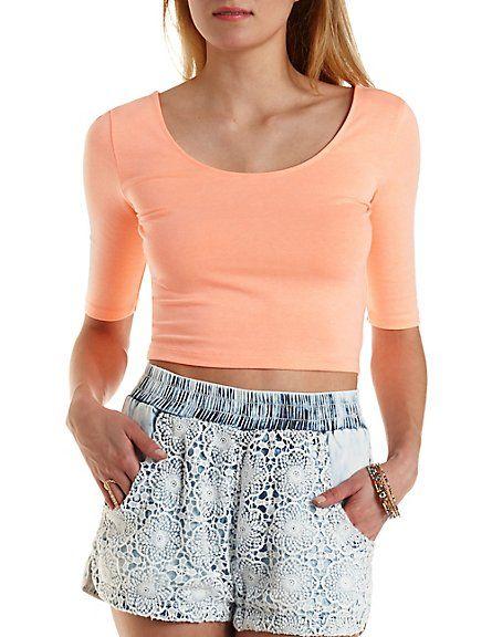 Crochet & Chambray Acid Wash Shorts: Charlotte Russe #crochet #shorts #denim