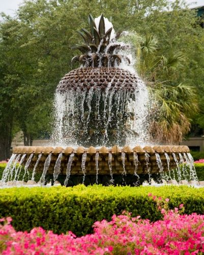 The Pineapple Fountain, a focal point of the Waterfront Park in historic Charleston. Pineapples represent hospitality according to the legend of the pineapple.