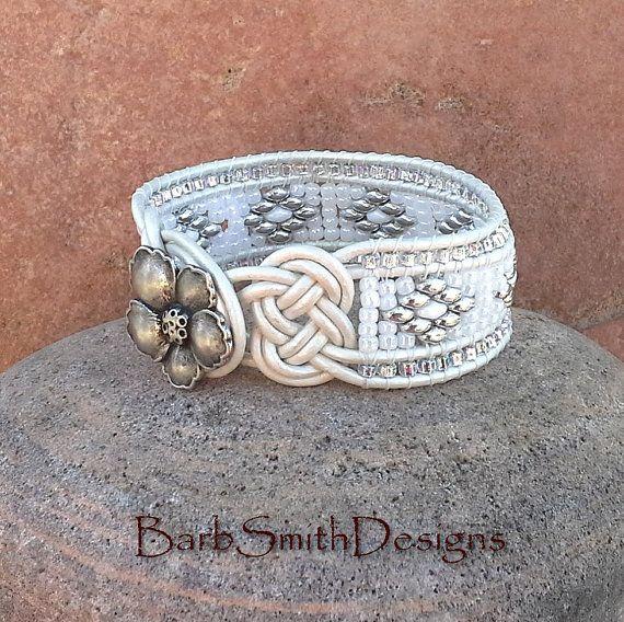 25% OFF White Leather Cuff Bracelet Josephine by BarbSmithDesigns