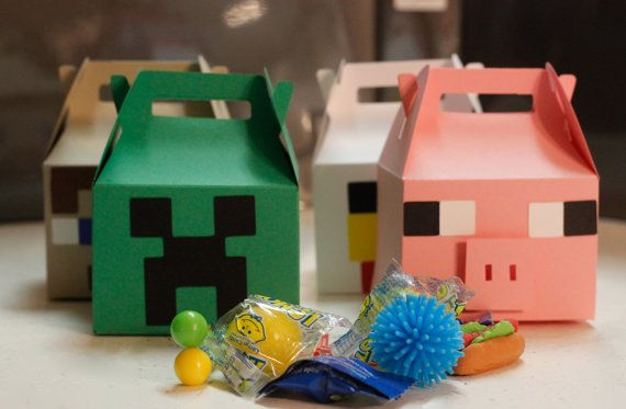 6 minecraft inspired favor boxes, great party treat boxes