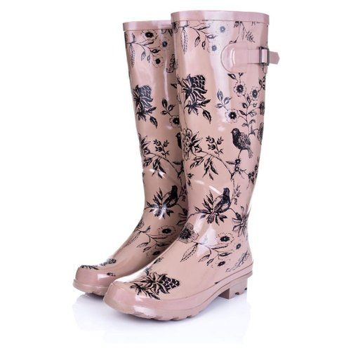 Flat Festival Welly Wellington Knee High Rain Boots Nude