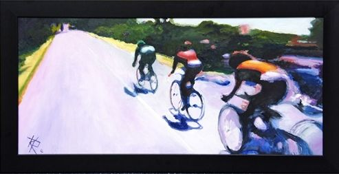 Le Tour, oil, (36x71cm) by Keith Robinson. Hornsea Art Society runners-up in Art Club of the Year 2017
