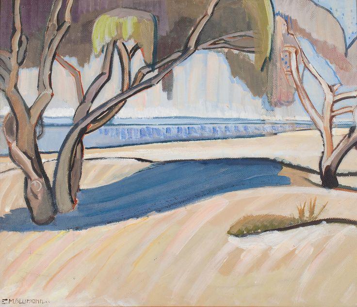 """On the Swan"", 1942, by Elise Blumann (1897-1990), Oil on Composition Board, 55.6 x 66.4cm, University of Western Australia."
