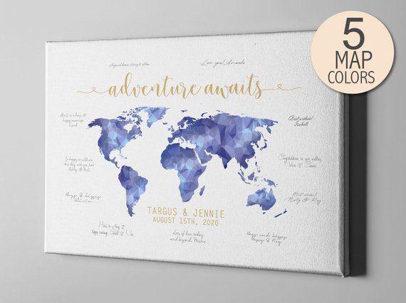 Canvas Guest Book Destination Wedding Custom Guest Book Modern
