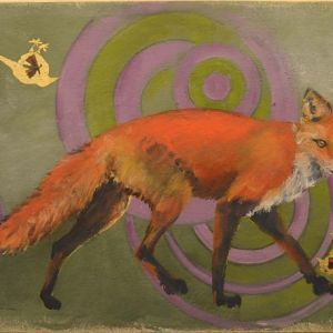 """The Moth, The Meadow Pipit and The Red Fox #3, Rosa Quintana Lillo, Gold leaf and mixed media acrylics on canvas on board, 22 ½"""" x 15 ½"""" x 1 ¾"""", $550"""