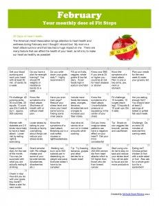 29 days of heart healthy snacks and facts!  Also a dose of nutrition and fitness tips/ challenges.  Inspired by Spark people and their spark people calendars.  Also inspired by the Tone it Up girls.