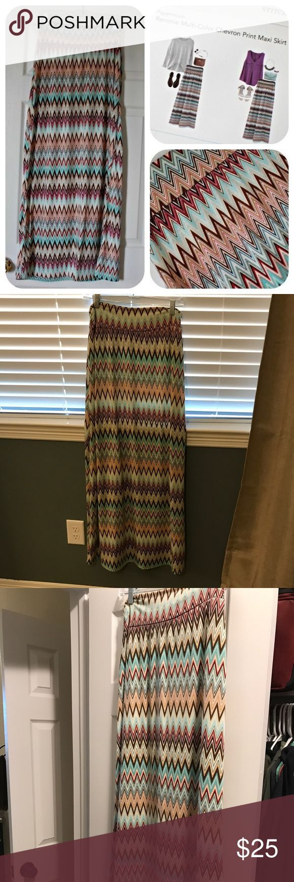 Papermoon Remmie Chevron print Maxi Stitch Fix Papermoon Remmie multi color chevron print Maxi skirt. Worn once. Perfect condition. Papermoon Skirts Maxi