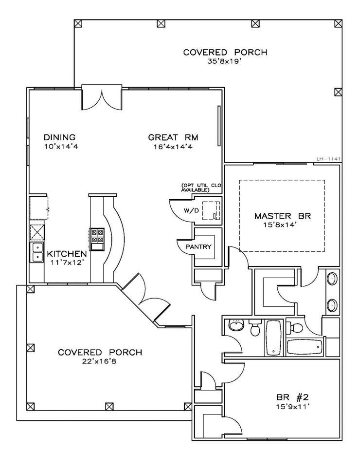 Houseplans.com Southern Main Floor Plan Plan #8-184 1411 sqft