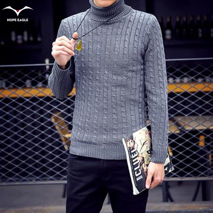 New Hot 2017  Autumn winter hedging Korean fashion Slim thick turtleneck sweater men leisure all-match solid color warm sweater