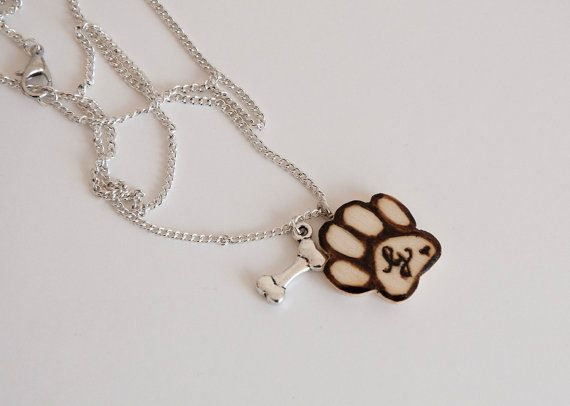 Necklace with dog paw with initial and little by SilviaWithLove, €10.00