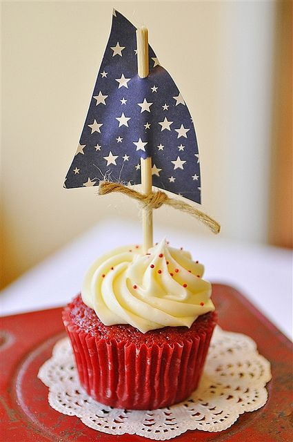 Red Velvet Cupcakes - The perfect choice for a nautical party or the 4th of July. Add a cute little blue sail and some red sprinkles and you'll be ready to sail away! Click on link for some more party ideas.