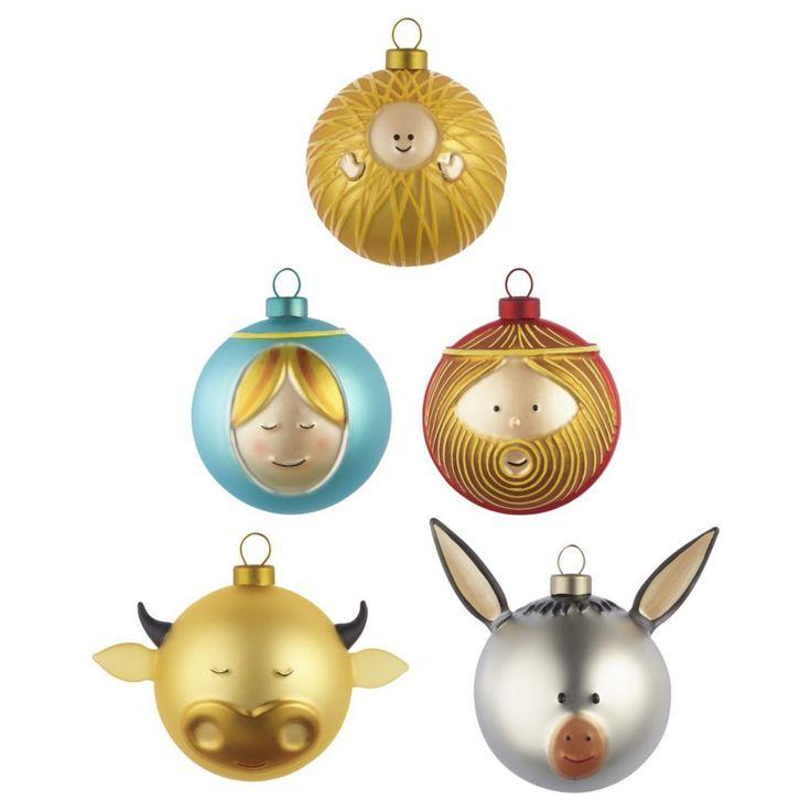 Palle Presepe Small Ornament Set by AlessiOriginele Kerstballen, 2013 Christmas, Kerstballen Design, Alessi Kerstballen, Presepe Ornaments, Di Alessi, Christmas Ornaments, Le Palle, Palle Presepe