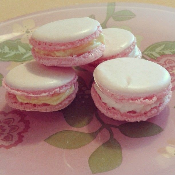 First try to make home-made Macarons with lemon and vanilla filling