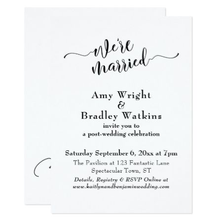 Subtle Elegant Typography Post Wedding Celebration Card - tap, personalize, buy right now!