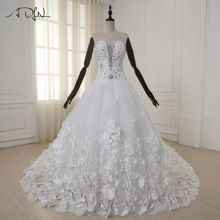 US $167.99 ADLN Luxury Wedding Dress with Hand Made Flower Petals Sweetheart Beads Crystal 1.5 m Royal Train Tulle Wedding Gowns. Aliexpress product