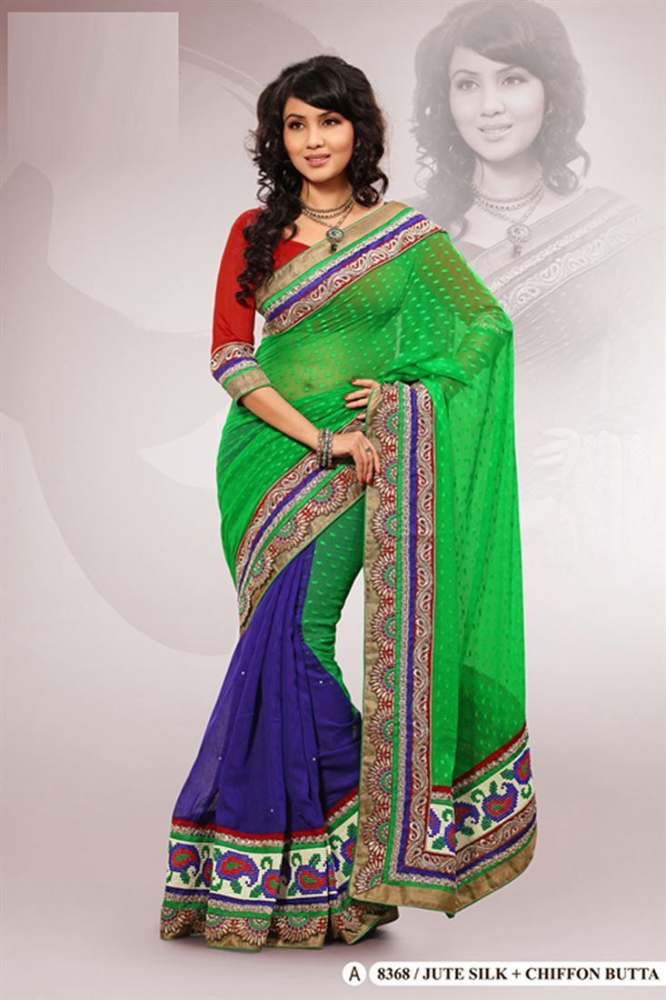 Green Jute Silk,Chiffon Embroidered Saree With Blouse