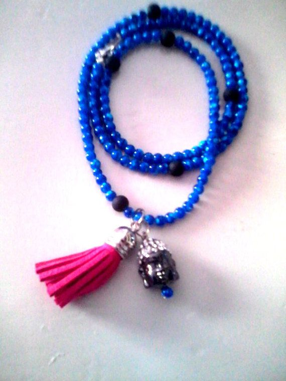 New Royal blue Buddha necklace by KaterinakiJewelry on Etsy