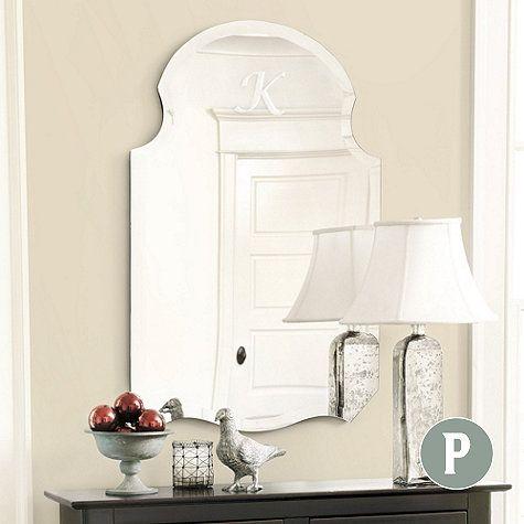 Frameless Monogrammed Mirror, $199-$299, Ballard Designs