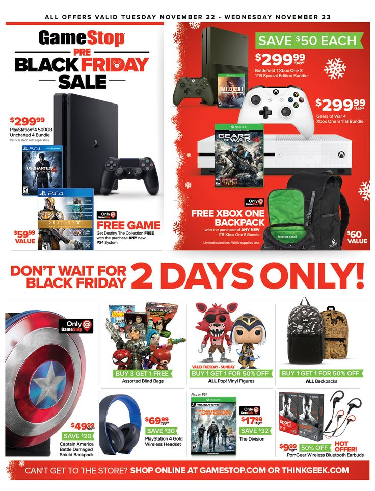 Game Stop Weekly Ad November 22 - 23, 2016 - http://www.olcatalog.com/game-stop/game-stop-weekly-ad.html