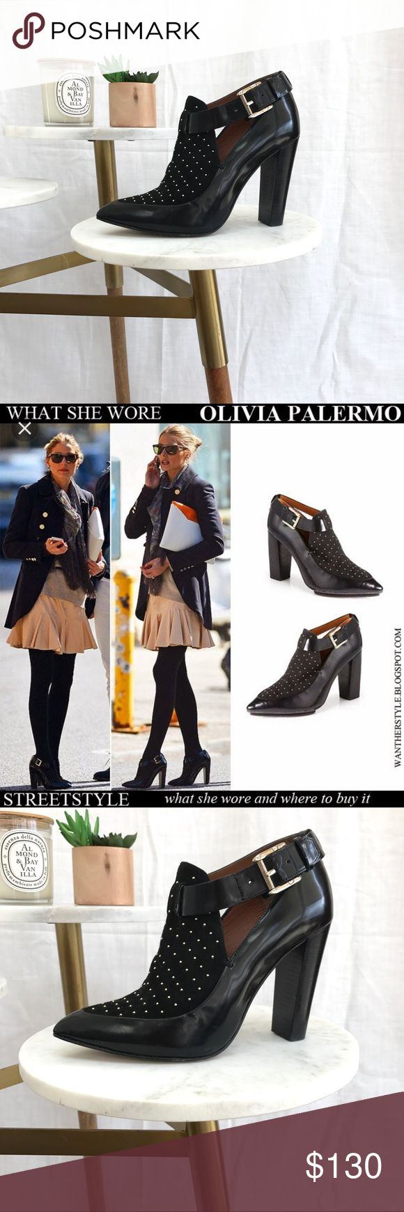 "Rebecca Minkoff Gio Studded Bootie Pump Excellent preowned condition - minimal scuffing on heel and wear on bottom soles. As seen on Olivia Palermo. 3.5"" stacked heel. Rebecca Minkoff Shoes Ankle Boots & Booties"