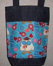 NEW Small Denim Tote Bag Handmade/w Tootsie Roll Pop Owl Fabric