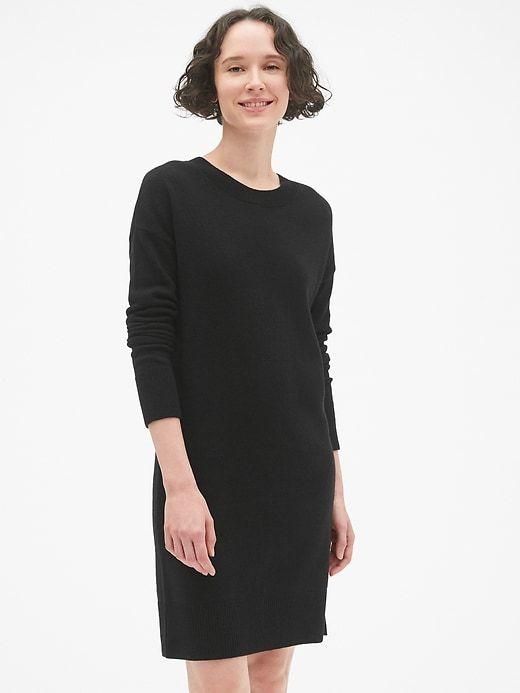 08fed9cca4 Gap Women s Cozy Crewneck Sweater Dress True Black