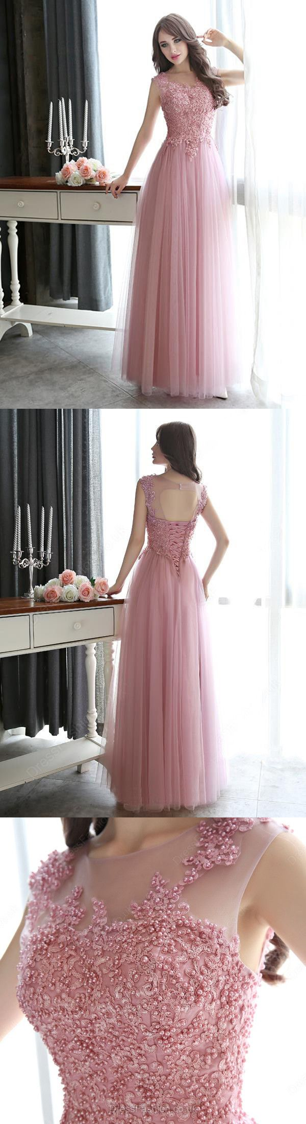 A-line Scoop Floor-length Sleeveless Tulle Prom Dress/Evening Dress # VB557 #tulle #pink #pear pink #fashion #long #prom #popular #A-line #evening #Appliques