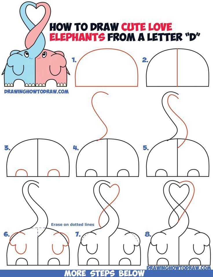easy drawing draw step drawings elephants kawaii heart beginners tutorial chibi forming trunks cartoon animals things tutorials animal sketches cool